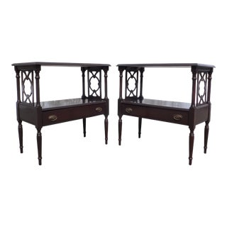Antique Pair Federal End Tables Bedside Night Stands For Sale