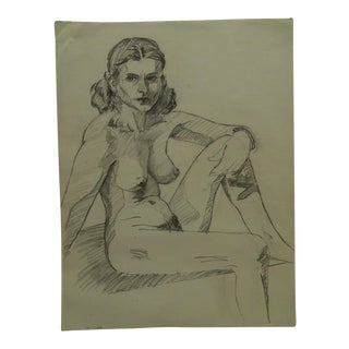 """1956 Mid-Century Modern Original Drawing on Paper, """"Nude With Bracelet and Earrings"""" by Tom Sturges Jr. For Sale"""