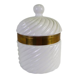 Modern Large White Glazed Ceramic and Wide Brass Band Ice Bucket by Tommaso Barbi 1970s For Sale