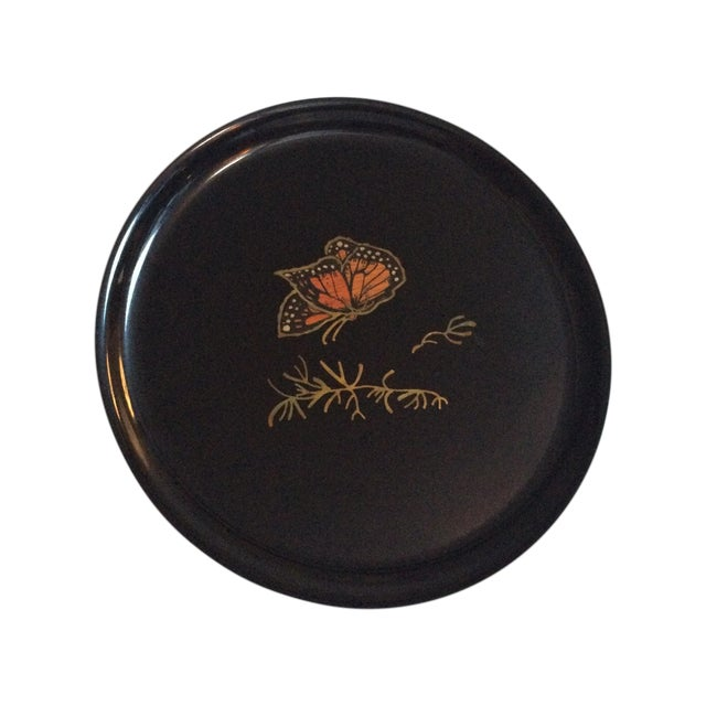Couroc Vintage Black Butterfly Tray - Image 1 of 7