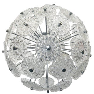 Vintage Italian Etched Glass Sputnik Chandelier For Sale