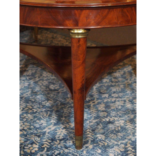 Animal Skin Antique French Louis Philippe Mahogany Leather Top Drum Table, circa 1840 For Sale - Image 7 of 7