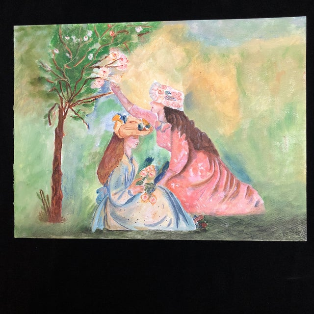 Lisa Burris Acrylic Painting of Two Young Ladies in a Meadow For Sale - Image 4 of 4