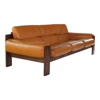 1960s Scandinavian Modern Rosewood and Leather Sofa For Sale