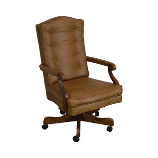 Tan Faux Leather Tufted Swivel Executive Office Desk Chair For Sale