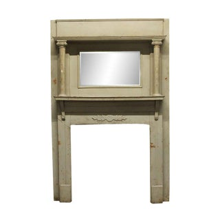 Traditional Gray Distressed Wood Mantel With Beveled Mirror For Sale