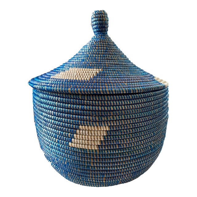 "Colorful Basket W/ Lid Senegal West Africa 15"" H For Sale"