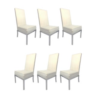 1960s Vintage Design Institute of America High Back Chrome & Velvet Pinstripe Dining Chairs- Set of 6 For Sale