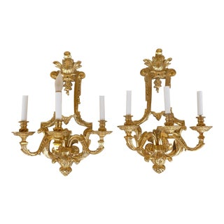 Late 20th Century Vintage French Louis 16th C. Style Wall Sconces- A Pair For Sale