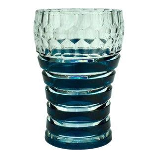 Val Saint Lambert Dark Teal Overlay Art Deco Franckenthal Art Glass Vase, 1930s For Sale