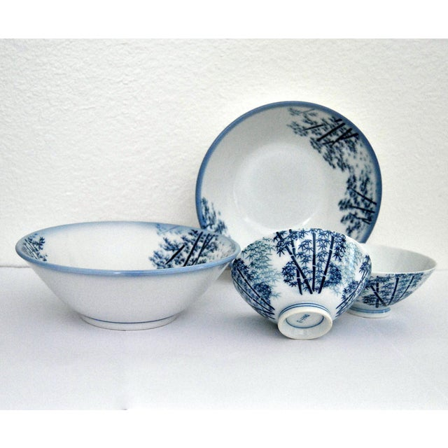 Bamboo Mikawachi Blue White Ramen and Tea Bowls - Set of 4 For Sale - Image 7 of 7