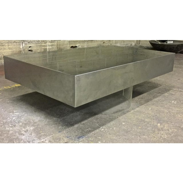 Pure Design Brushed Steel Table With Lucite Lightening Base For Sale - Image 6 of 6