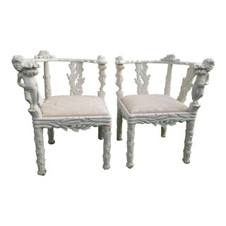 19th Century Style Fois Bois Carved Chairs For Sale