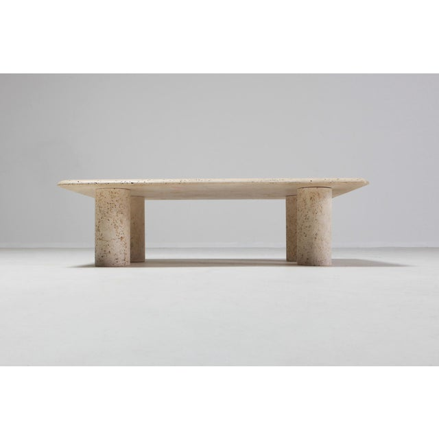 Angelo Mangiarotti Angelo Mangiarotti Travertine Coffee Table for Up & Up - 1970s For Sale - Image 4 of 11