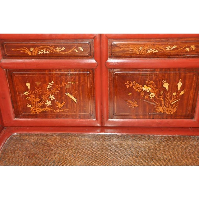 Late 19th Century Antique Qing Dynasty Gilt Decorated Red Lacquered Opium Bed With Inlaid Panels For Sale - Image 5 of 11
