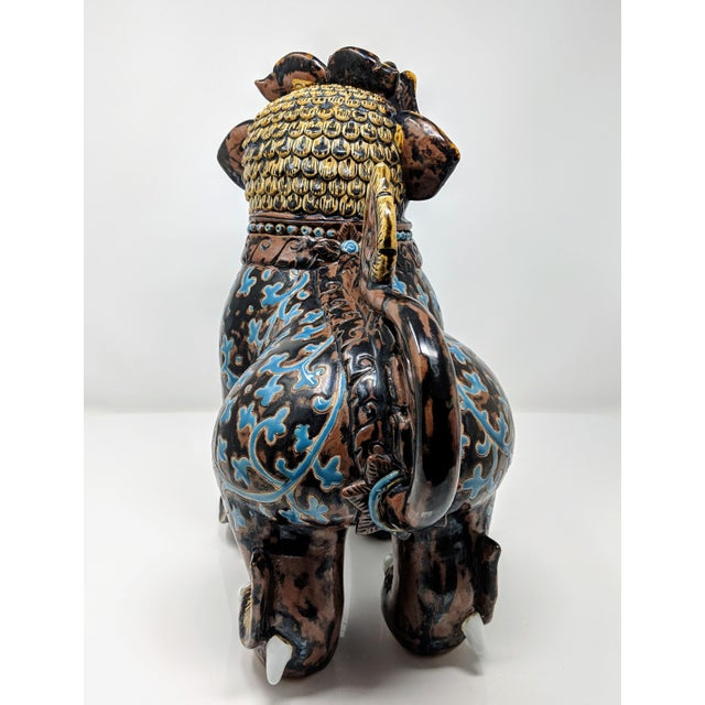 Brown Ceramic Painted Imperial Guardian Lion and Foo Dragon For Sale - Image 8 of 13