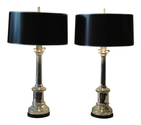 Lovely Pair Of Antique Mercury Glass Empire Style Lamps By Warren Kessler |  DECASO