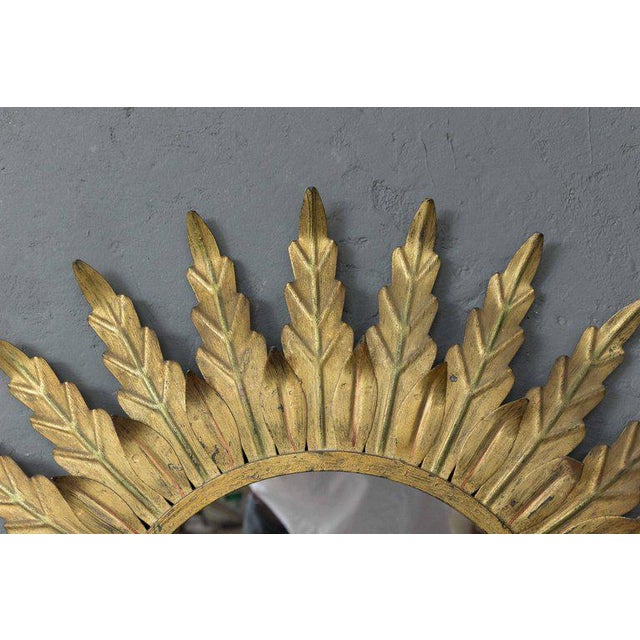 Gilt Metal Sunburst Mirror With Radiating Leaves and Traces of Green - Image 5 of 6