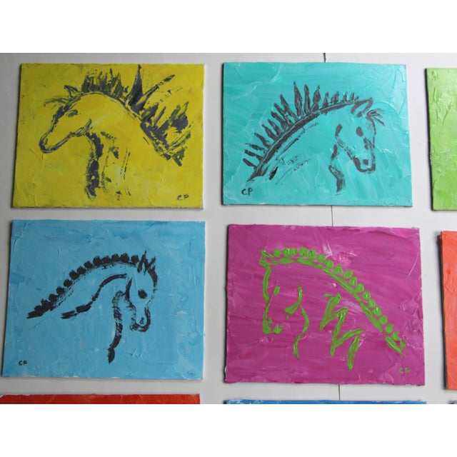 Shabby Chic Horse Head Profile Paintings by Cleo Plowden - Set of 9 For Sale - Image 3 of 8