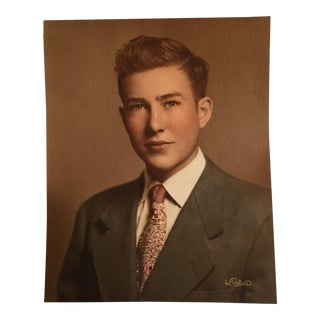 1950 Young Man Graduation Photo Portrait For Sale