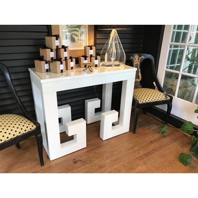 Vintage White Lacquered Greek Key Console - Image 5 of 5