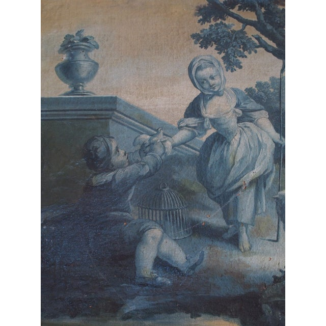 This unframed painting on canvas depicts a young shepherdess with a child and one sheep in the countryside. This method of...