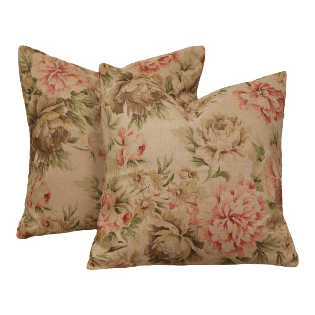 """George Smith """"Blown Peonies"""" Linen Accent Pillows, a Pair For Sale"""