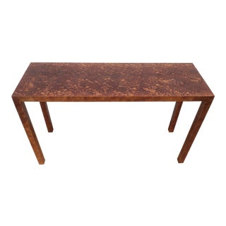 Vintage Lane Parsons Console Table With Tortoise Finish For Sale