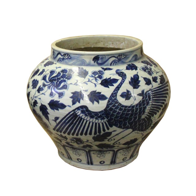 Chinese Blue White Porcelain Graphic Fat Body Vase Jar For Sale In San Francisco - Image 6 of 10