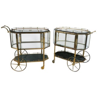 Pair of Hollywood Regency Bronze Tray Top Showcase Serving Carts or Wagons For Sale