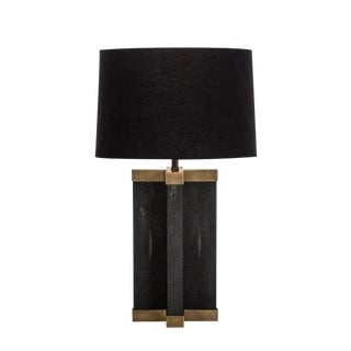 Black Shagreen Lamp With Black Shade