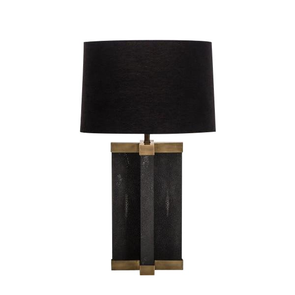 Black Shagreen Lamp With Black Shade For Sale