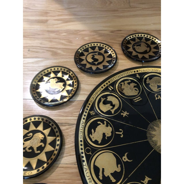 1960s Vintage Mid Century Modern Astrological Glass Tray & Plates For Sale - Image 5 of 7