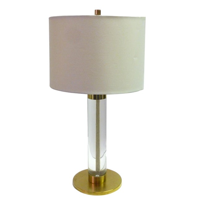 Frederick Cooper Lucite & Brass Table Lamp For Sale