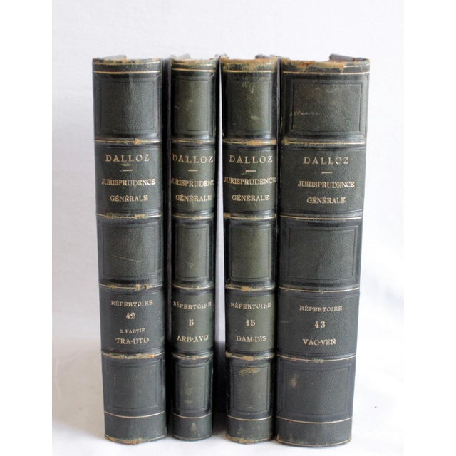 Animal Skin 19th Century Antique Leather Bound Books Dalloz Jurisprudence - Set of 4 For Sale - Image 7 of 7
