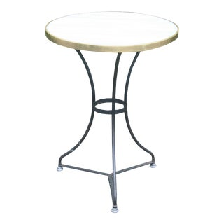 20th Century Contemporary Iron and Marble Bistro Table With Tripod Base For Sale