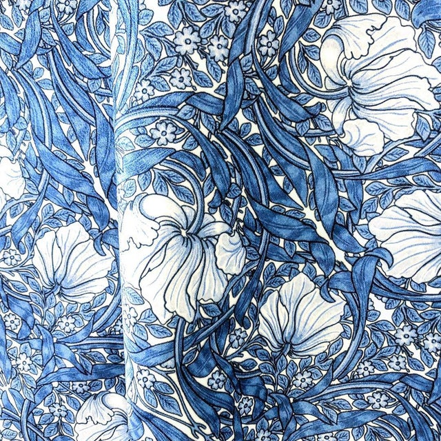 "Offered is one yard of William Morris Pimpernel Upholstery velvet in brilliant blue. Small scale, approximately 2""..."