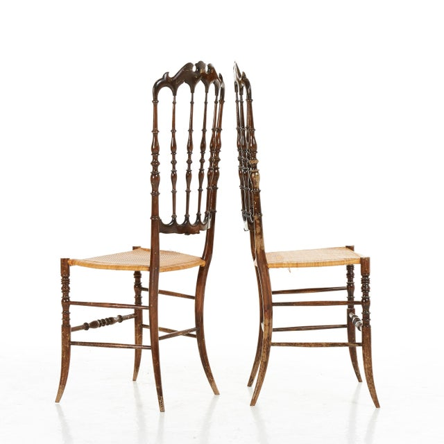 1950s Pair of Midcenty Chairs by Colombo Sanguineti for Chiavari 1950s For Sale - Image 5 of 7