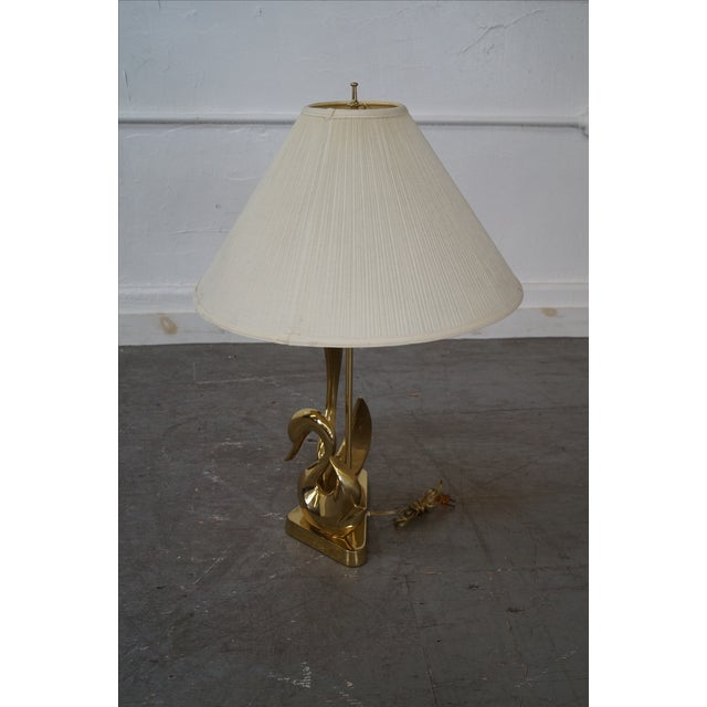Hollywood Regency Vintage Italian Brass Swan Elegant Table Lamp For Sale - Image 3 of 10