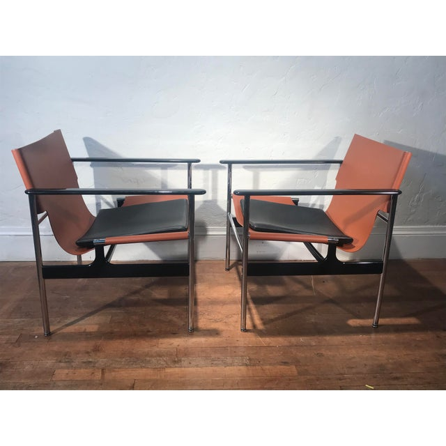 Industrial Charles Pollock for Knoll 657 Sling Lounge Chairs- a Pair For Sale - Image 3 of 12