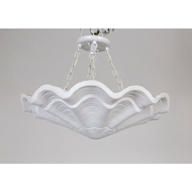 "Circular Undulating Ribbed Plaster Shell Pendant 22"" For Sale - Image 9 of 9"