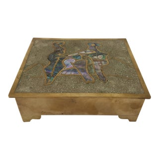 Vintage Taxco Mexican Brass Inlaid Abalone and Rosewood Box For Sale