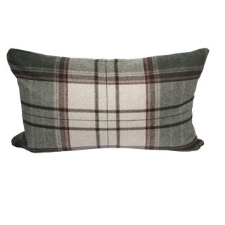 FirmaMenta Italian Green Brown and Cream Plaid Sustainable Wool Lumbar Pillow For Sale