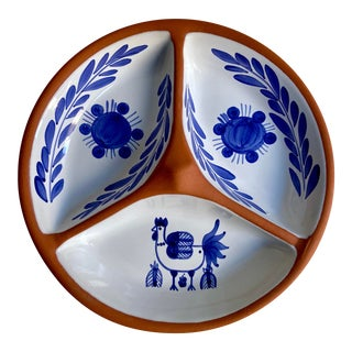 Vintage Sto Onofre Hand Painted Blue & White Dish For Sale