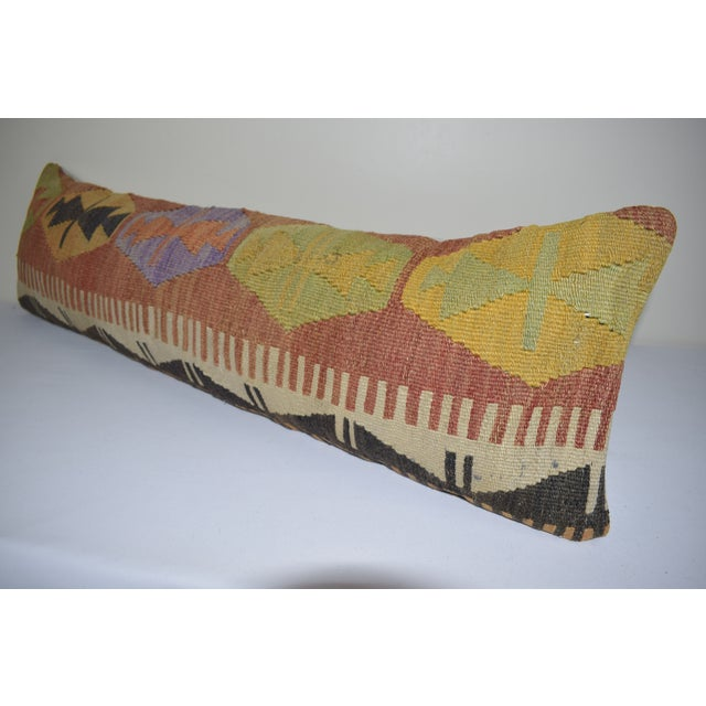"""Mid-Century Modern 12"""" X 40"""" Bohemian Bedding Wool Kilim Pillow Cover For Sale - Image 3 of 6"""