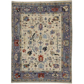 Modern Oushak Style Rug With Calm and Quiet Glam, 09'03 X 12'03 For Sale