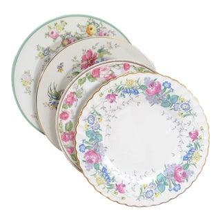 Vintage Mismatched Fine China Dinner Plates - Set of 4