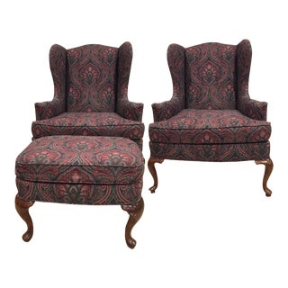 1990s Vintage Drexel Wing Back Seating Set- 3 Pieces For Sale