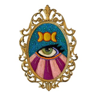 Framed Mixed Media Mystic Eye Wall Hanging by Artist Sarah Miller For Sale