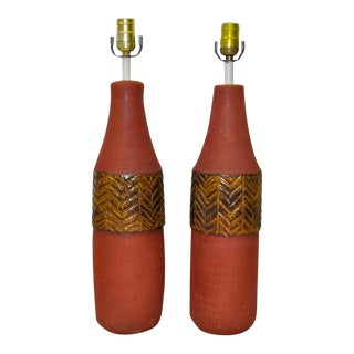 Mid Century Modern Italian Ceramic Table Lamps by Raymor C.1950s - a Pair For Sale